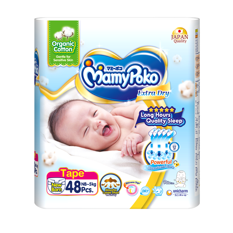 MamyPoko Extra Dry Skin / Size NB with Organic Cotton
