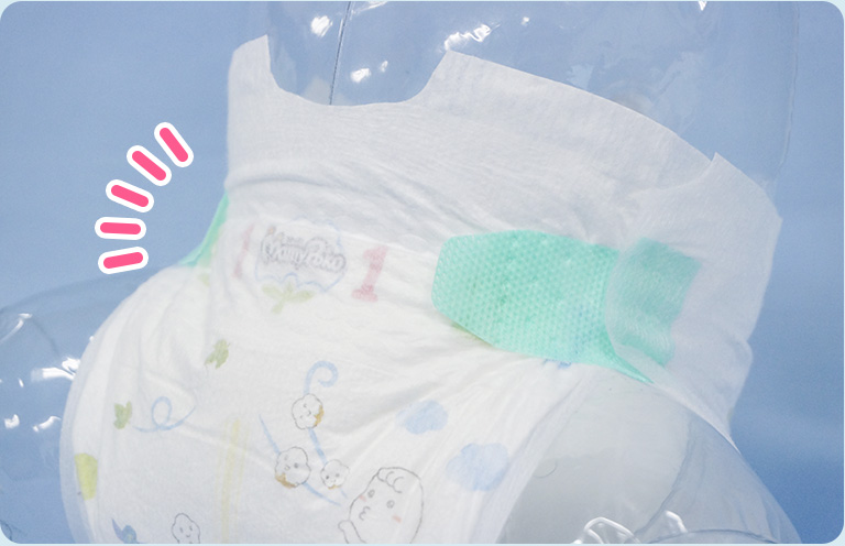 The waist area is made with ultra fine non-woven fabric which prevent irritation on your baby's skin.